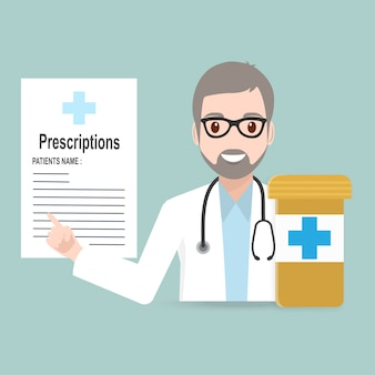 Docteur avec icône et pilules