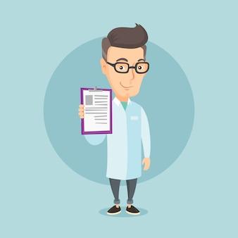 Docteur avec illustration vectorielle de presse-papiers.
