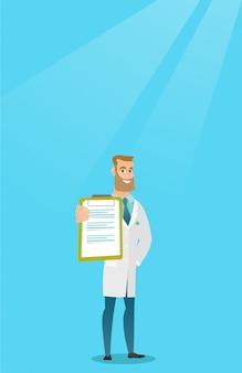 Docteur avec une illustration vectorielle de presse-papiers.