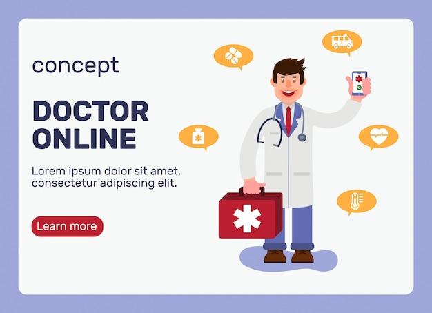 Docteur en ligne concept avec personnage.
