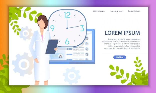 Docteur en ligne service médical vecteur plat site web