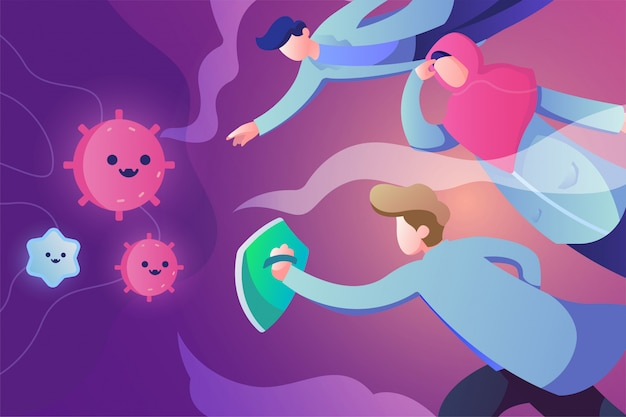 Docteur lutte contre le concept d'illustration du virus corona