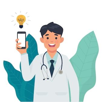 Docteur en médecine montrer smartphone dans sa main