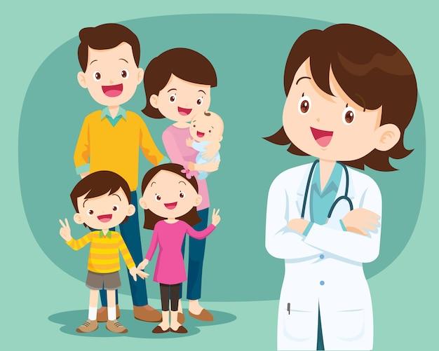 Docteur en médecine souriant et famille mignonne