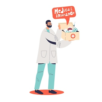 Docteur en médecine tenant la boîte avec illustration de concept d'assurance maladie