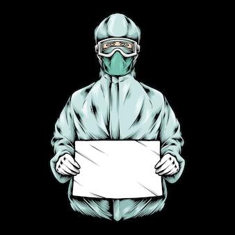 Docteur médical, tenue, papier