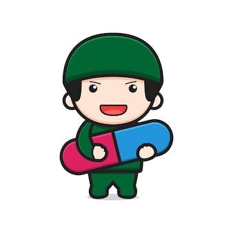 Docteur mignon tenant l'icône de dessin animé de drogue de capsule illustration vectorielle. conception isolée sur blanc. style de dessin animé plat.