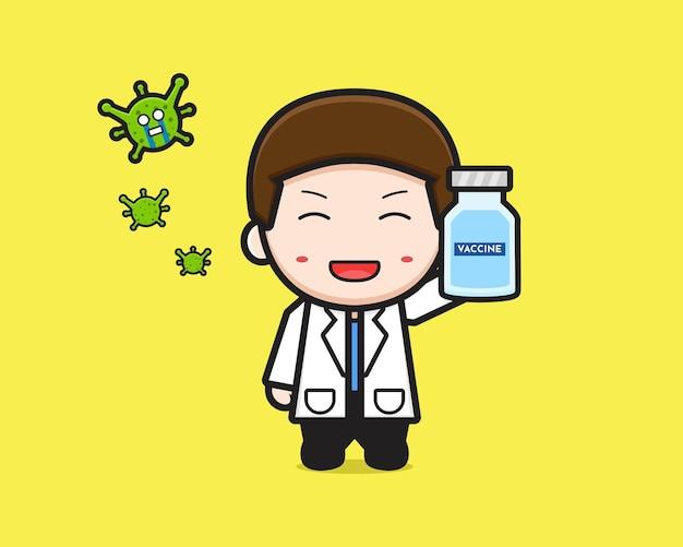Docteur mignon tenant l'illustration d'icône de dessin animé de vaccin. concevoir un style cartoon plat isolé