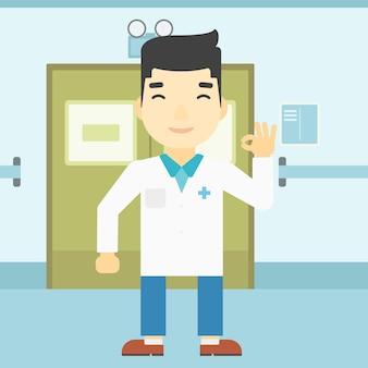 Docteur montrant ok signe illustration vectorielle.
