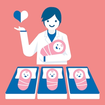 Docteur obstétricien avec l'illustration de bébés.