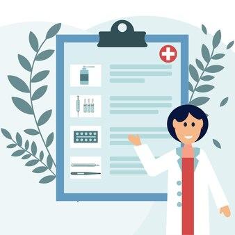 Docteur avec une ordonnance pour le traitement, illustration vectorielle isolée en couleur