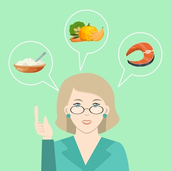 Le docteur parle de nourriture saine. nutritionniste prescrivant un régime alimentaire et une alimentation saine. diététicienne offrant de la nourriture végétale fraîche