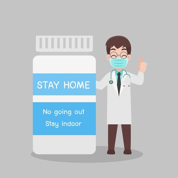 Docteur avec personnage de bouteille de médecine pour vacciner.