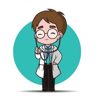 Docteur de personnage de dessin animé mignon.