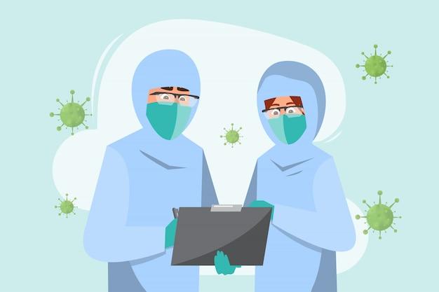 Docteur porter un masque avec personnage de recherche. coronavirus et concept médical