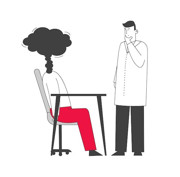 Docteur en robe blanche regardant un homme d'affaires avec steam au lieu de head.