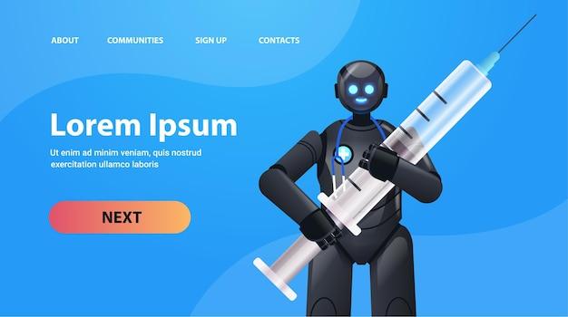 Docteur robot noir tenant seringue vaccination médecine soins de santé intelligence artificielle