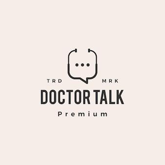 Docteur santé parler chat bulle hipster logo vintage icône illustration