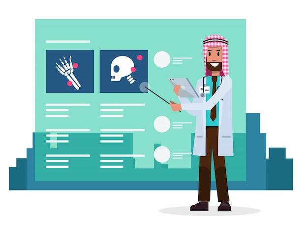 Docteur saoudien avec des informations sur les films radiographiques.
