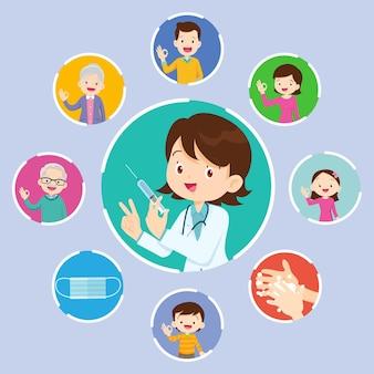 Docteur tenant la seringue avec le vaccin covid-19 et la famille et les enfants montrant un geste de signe correct