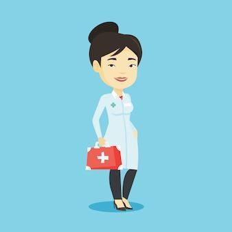 Docteur, tenue, premiers secours, boîte