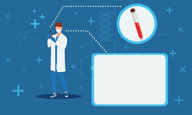 Le docteur tient un tube à essai avec des tests