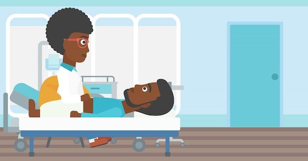 Docteur, toucher, abdomen, de, patient masculin