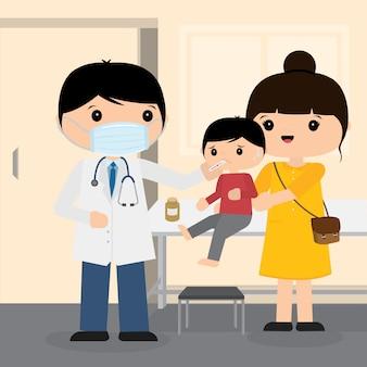 Le docteur travaille à l'hôpital. 2019-ncov le vecteur de dessin animé du personnage des symptômes du patient. le coronavirus, covid-19 wuhan virus disease illustration.