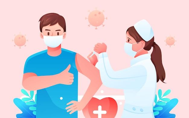 Docteur vaccination épidémique nouveau vaccin couronne garantie illustration vectorielle de santé médicale