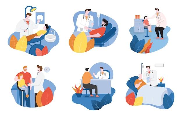 Docteur vérifie la santé des patients et donne des encouragements illustration design plat