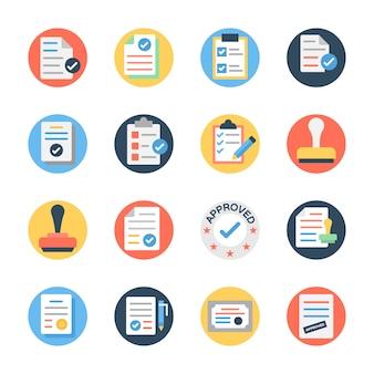 Document approuvé et icônes de vérification de document