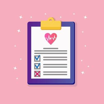Document d'assurance maladie avec coeur rouge, accord médical sur fond. rapport de diagnostic clinique sur la santé du patient. note d'hôpital, formulaire de contrôle. bloc-notes avec du papier.