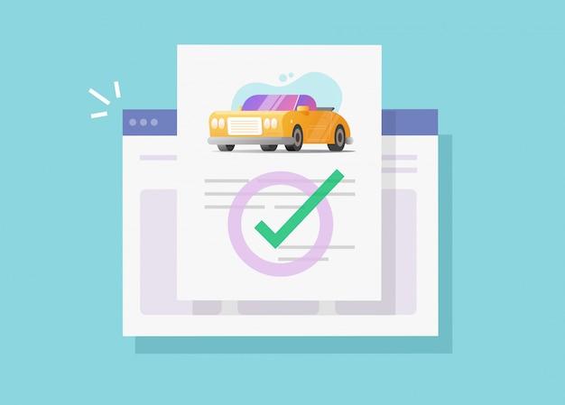 Document juridique d'assurance auto ou véhicule en ligne