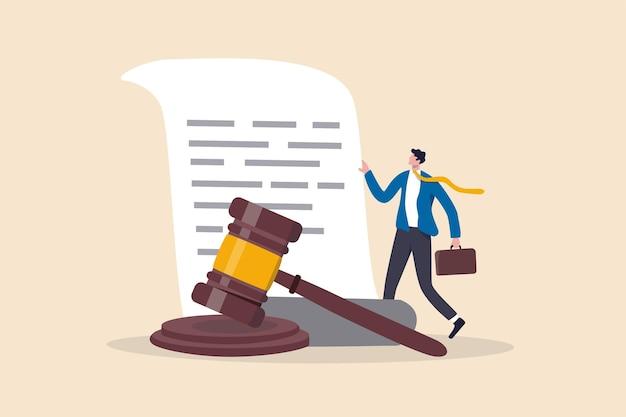 Document juridique avocat ou tribunal professionnel droit de bureau et concept de papier d'approbation de jugement
