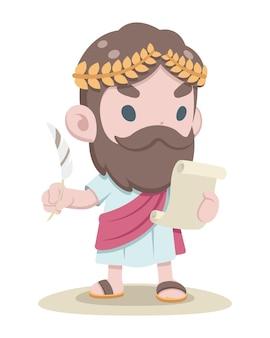 Document de lecture d'érudit grec de style mignon avec un stylo plume dans une autre caricature de main