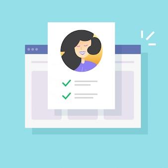 Document de liste de contrôle du formulaire web d'identité personnelle en ligne