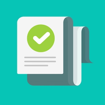 Document long avec coche vérifiée ou dessin animé de coche approuvé, concept de message de confirmation d'audit ou de note d'inspection, liste de contrôle de réussite avec image de marque d'évaluation correcte