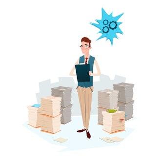 Document papier empilé business man