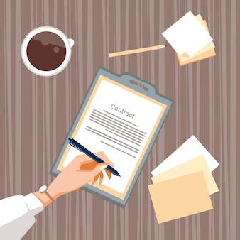 Document papier d'inscription de contrat