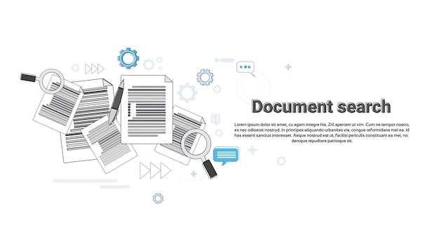 Document papier recherche loupe paperasse business web bannière illustration vectorielle