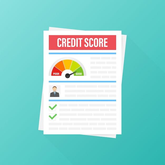 Document de pointage de crédit. tableau de feuille de papier des informations personnelles de pointage de crédit.