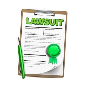 Document de poursuite, action en justice, document réaliste
