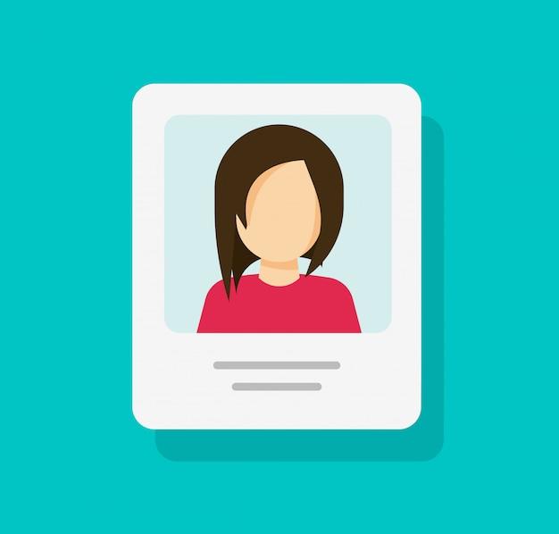 Document de profil personnel avec photo d'identité ou mon icône de compte dessin animé plat isolé