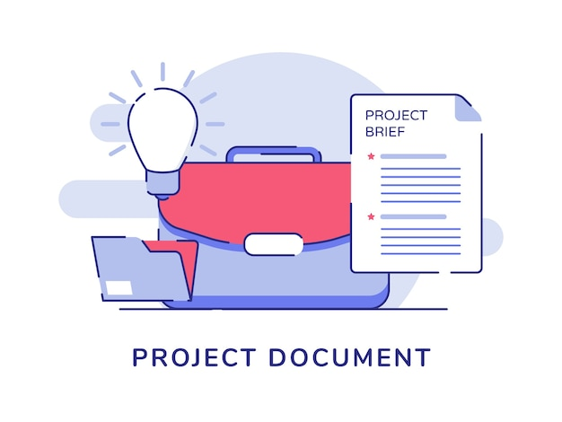 Document de projet concept valise ampoule dossier dossier fond isolé blanc