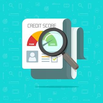 Document de recherche de rapport de crédit crédit cartoon plat