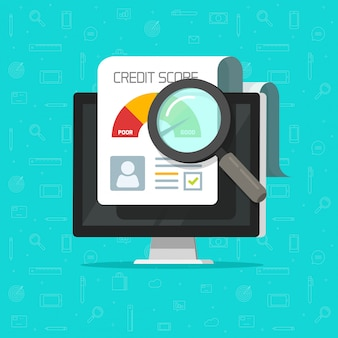 Document de recherche de rapport de crédit en ligne sur ordinateur dessin animé plat