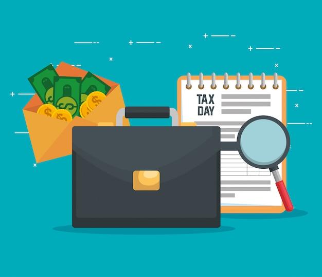 Document de taxe de service avec mallette et factures