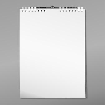 Document vierge avec ombre, cahier de page blanche avec reliure