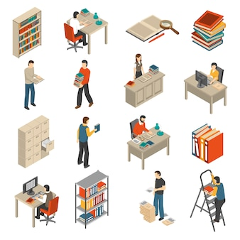 Documents archives bibliothèque isometric icons set