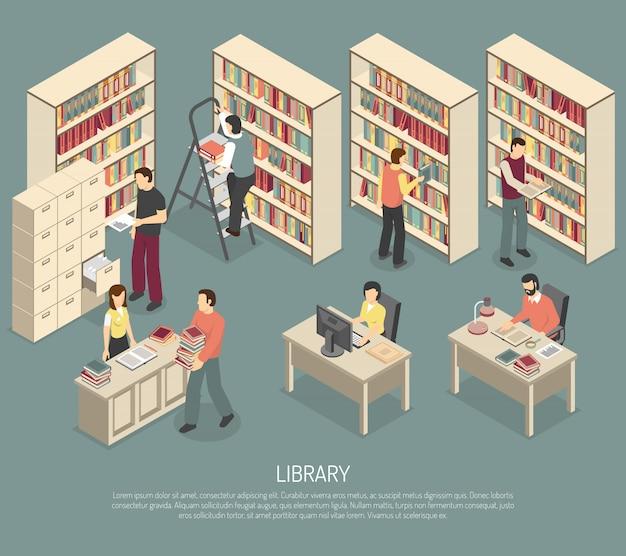 Documents bibliothèque archives intérieur illustration isométrique